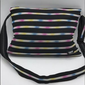 Zipit Black Colorful Messenger Zip Tote Bag